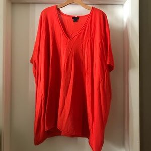 J. Crew Cashmere Poncho Sweater Tunic S M Orange